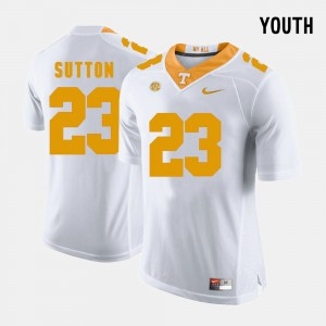 Youth(Kids) Football White Tennessee Volunteers Cameron Sutton College Jersey #23