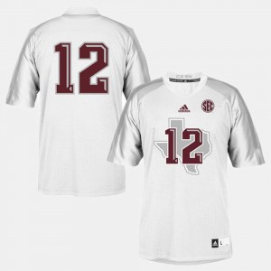 Aggies #12 White College Jersey Youth Football