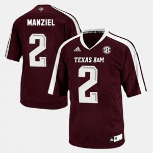 Men Johnny Manziel College Jersey Texas A&M University #2 Football Red