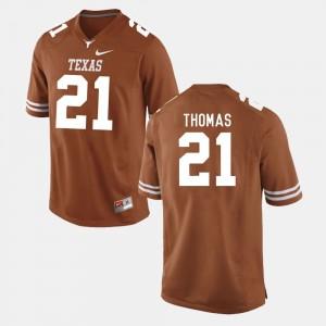 #21 Burnt Orange Men Football University of Texas Duke Thomas College Jersey