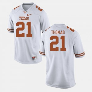 #21 Mens White Longhorns Football Duke Thomas College Jersey
