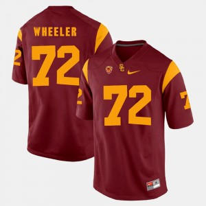 Pac-12 Game Red For Men's Trojans #72 Chad Wheeler College Jersey