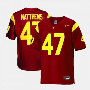 Mens Red Clay Matthews College Jersey USC #47 Football
