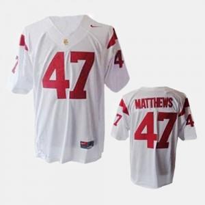 #47 Trojans For Men's Clay Matthews College Jersey Football White