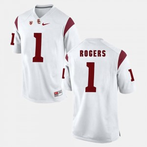 USC Trojans White Mens Darreus Rogers College Jersey Pac-12 Game #1