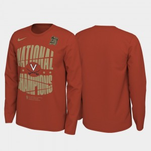 For Men University of Virginia Orange College T-Shirt 2019 Men's Basketball Champions 2019 NCAA Basketball National Champions Celebration Long Sleeve