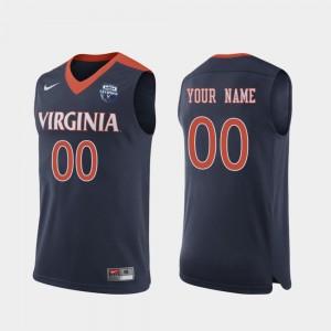 Virginia Cavaliers #00 College Custom Jersey Men Navy 2019 Men's Basketball Champions