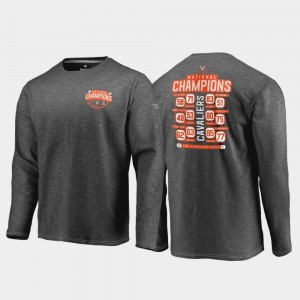For Men 2019 NCAA Basketball National Champions Dropstep Trophy Long Sleeve Charcoal Cavaliers College T-Shirt 2019 Men's Basketball Champions