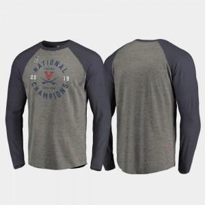 2019 NCAA Basketball National Champions Dunk Raglan Long Sleeve Heather Gray Navy 2019 Men's Basketball Champions For Men's College T-Shirt UVA Cavaliers