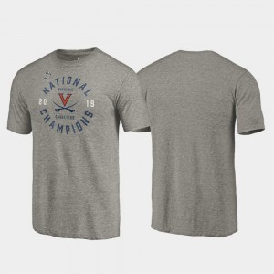For Men 2019 NCAA Basketball National Champions Dunk Tri-Blend College T-Shirt Virginia Cavaliers Gray 2019 Men's Basketball Champions