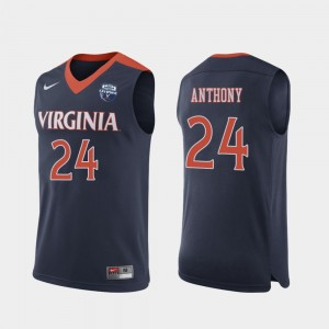 #24 Navy University of Virginia Marco Anthony College Jersey Mens 2019 Men's Basketball Champions