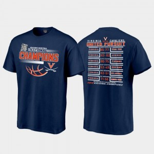 Navy 2019 NCAA Basketball National Champions Searing Schedule 2019 Men's Basketball Champions Virginia Cavaliers College T-Shirt Men