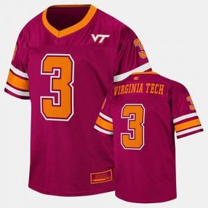Maroon Virginia Tech Hokies Football #3 College Jersey Kids