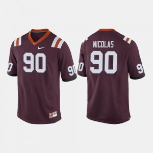 #90 Hokies Men's Football Dadi Nicolas College Jersey Maroon