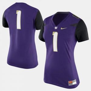 Women Football Purple #1 College Jersey UW Huskies