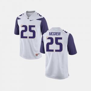 For Men's White #25 Sean McGrew College Jersey Football University of Washington