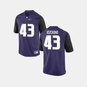Football UW Huskies For Men's Purple #43 Tristan Vizcaino College Jersey