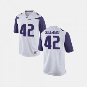 #42 White Mens Football Van Soderberg College Jersey UW
