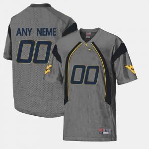College Custom Jersey WVU #00 Limited Football Mens Gray