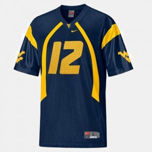 Geno Smith College Jersey Blue Youth(Kids) WVU #12 Football