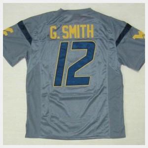 Gray #12 Football Men's West Virginia Geno Smith College Jersey