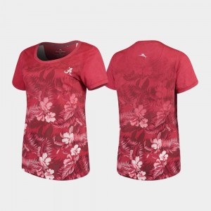 Tommy Bahama Crimson Alabama Crimson Tide Womens College T-Shirt Floral Victory