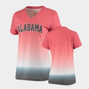 V-Neck Crimson College T-Shirt Ombre Alabama Roll Tide Ladies