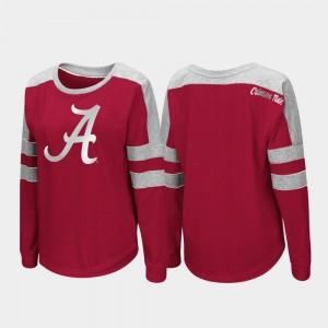 For Women's Crimson Trey Dolman College T-Shirt Long Sleeve Bama
