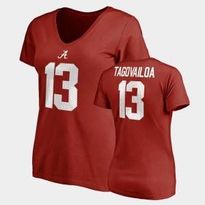 Legends Alabama Crimson Tide Tua Tagovailoa College T-Shirt For Women Crimson Name & Number V-Neck #13
