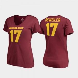 Maroon Brock Osweiler College T-Shirt Womens Sun Devils V-Neck #17 Legends