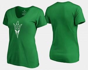 Arizona State White Logo Kelly Green College T-Shirt Women St. Patrick's Day