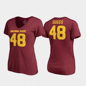 Sun Devils #48 Terrell Suggs College T-Shirt Womens Maroon V-Neck Legends