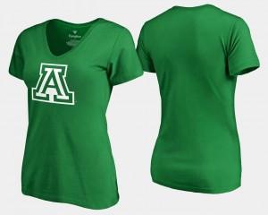 College T-Shirt Kelly Green St. Patrick's Day University of Arizona White Logo Women's