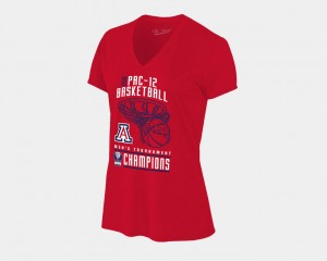 Women's Red College T-Shirt Basketball Conference Tournament V-Neck 2018 Pac-12 Champions Locker Room Wildcats