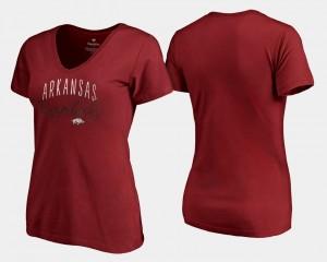 College T-Shirt Graceful Arkansas Cardinal V-Neck Womens