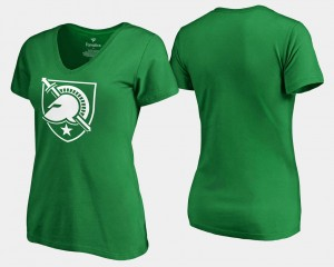 St. Patrick's Day White Logo Westpoint Kelly Green College T-Shirt For Women