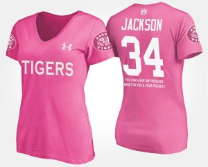 For Women's #34 AU Pink With Message Bo Jackson College T-Shirt
