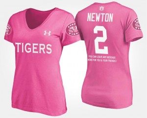 Cam Newton College T-Shirt Women #2 Pink Tigers With Message