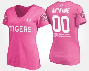College Customized T-Shirt Auburn University With Message Pink Womens #00