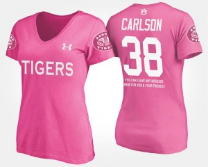 #38 Daniel Carlson College T-Shirt Ladies Pink With Message Tigers