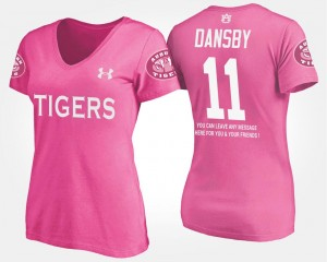 Karlos Dansby College T-Shirt For Women's AU #11 Pink With Message