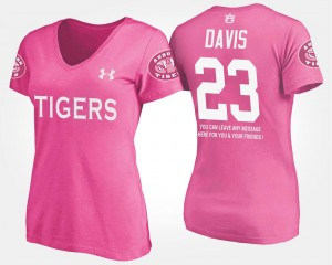 Ryan Davis College T-Shirt Pink With Message #23 For Women's Auburn