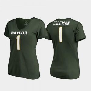 Green Corey Coleman College T-Shirt #1 Women's Legends V-Neck Baylor University