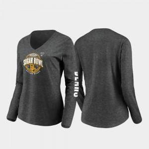 Womens Stiff Arm Long Sleeve V-Neck College T-Shirt Baylor Heather Charcoal 2020 Sugar Bowl Bound