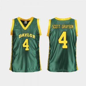 For Women's #4 Honesty Scott-Grayson College Jersey Basketball Replica Green Baylor University