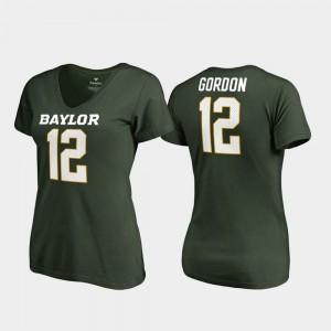 Legends Ladies #12 V-Neck Josh Gordon College T-Shirt Green Baylor Bears