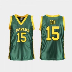 Women Basketball Lauren Cox College Jersey #15 Baylor Green Replica
