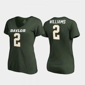 #2 Legends V-Neck Baylor University Terrance Williams College T-Shirt For Women's Green