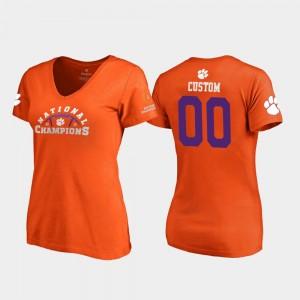#00 2018 National Champions Women Pylon V-Neck Clemson Tigers Orange College Custom T-Shirt