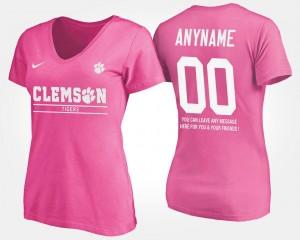 Clemson University Pink College Custom T-Shirts With Message Women #00